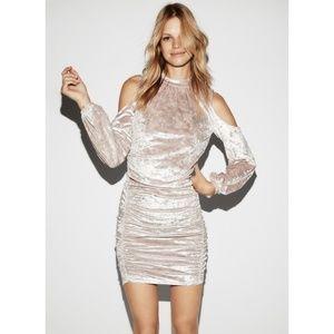 Express Velvet Cold Shoulder Icey Pink Dress